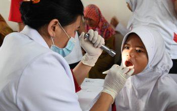 Seorang Siswi tengah diperiksa gigi pada Peringatan Hari Gigi dan Mulut Sedunia di SDN Rawa Buntu 03, Tangerang Selatan, Senin (20/3)