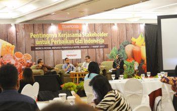 Suasana diskusi tentang Pentingnya Kerjasama Stakeholder untuk Perbaikan Gizi Indonesia bersama Tempo di Jakarta, Selasa (7/3). Penanganan masalah kesehatan secara menyeluruh diperlukan untuk mewujudkan masyarakat sehat. Instruksi Presiden (Inpres) baru dapat menjadi acuan pembangunan kesehatan yang berkelanjutan dan tersistematis.