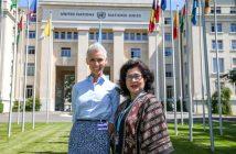 Menteri Kesehatan RI, Prof Nila Moeloek dan EAT President, Gunhild A. Stordalen, di depan gedung United Nations di Geneva, momen sebelum peluncuran EAT Asia-Pacific Food Forum (24 Mei 2017). Photo: Pierre Michel Virot