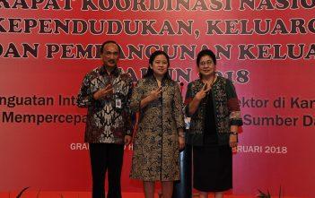 MenkoPMK, Menkes dan Plt Ka Badan BKKBN dalam acara Rakornas KKBPK di Jakarta (15/2)