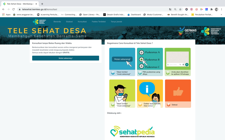 Aplikasi Tele sehat menjadi layanan daring iyang mempersatukan dokter desa sebagai pengendali sistem kesehatan masyarakat dan jajaran pemerintah daerah.